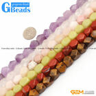 "Faceted Gemstone Gengon Beads 15"" 8-9x11-12mm for Jewelry Making 18 Materials"