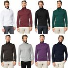 MENS JERSEY TURTLE NECK PLAIN COTTON TOP LONG SLEEVE STRETCHY T-SHIRT SIZE S-3XL