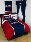 Atlanta Braves Bed in a Bag Curtains Valance Twin to King Size Comforter Set