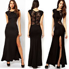 Lady Sexy Lace See-through Back Slim Bodycon Split Side Maxi Long Party Dress