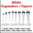 1 x White Taper / Ear Stretcher. 1.6mm to 10mm