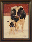 FIRST CHRISTMAS by Bonnie Mohr FRAMED PRINT PICTURE 15x19 Farm Holstein Cow Calf