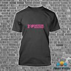 """HEAVY COTTON BREAST CANCER FUNNY """"I LOVE MOTOR BOATING"""" PINK T-SHIRT 5 COLORS"""