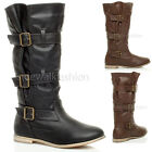 WOMENS LADIES LOW HEEL FLAT BUCKLE CALF COWBOY PIRATE SLOUCH BOOTS SIZE