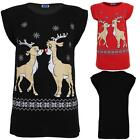 Women's Xmas Reindeer T-Shirt Ladies Festive Snowflake Novelty Print Top