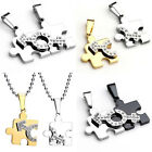 2Pc Mens Womens Couples Puzzle Steel Pendant Ball Chain Necklace Set Lovers Gift
