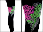 REGULAR OR PLUS SIZE LEGGINGS Embellished Rhinestone Pink Rose Heart(s)