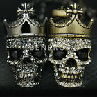 Crowned Skull King Pendant Necklace Black Crystal Mens Unisex Biker Jewelry