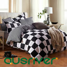 4pcs Chess Check Single/Double/Queen/S King Size Bed Quilt/Doona/Duvet Cover Set