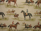 Vintage Derby & Ascot Horse Racing Linen Curtain Upholstery Designer Fabric