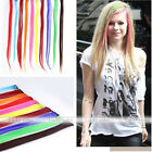 Womens Multi Color Long Straight Synthetic Clip in on Hair Extensions Piece Hot