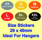 Coloured Ladies & Mens Clothes Size Stickers - Sticky Labels For Hangers