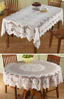 Collections Etc White Floral Lace Tablecloth