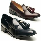 New Ladies Dolcis Low Block Heel Tassel Vintage Slip On Loafer Shoes UK Size 3-8