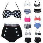 Retro Fashion High Waisted Bikini Push up Padded Gothic Swimwear Swimsuit s-xl