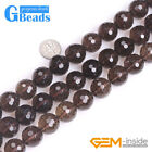 "Faceted Natural Smoky Quartz Round Loose Beads Strands 15"" Jewelry Making 4-18mm"