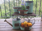 Brand New Vintage Blue Metal Planters for Garden or Deck Watering Can Decoration