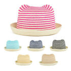 Girl's Straw Sun Visor Roll Brim Bowler Hat Cat Ears Shape Stripe 6 Colors New