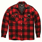 Dickies Mens Red Portland Padded Fleece Checked Pockets Collar Shirt Size S-XXL