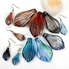 3pc Women Foil Lampwork Glass Leaf Pendant + Hook Earring Ear Stud Jewelry Set