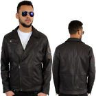 Aviatrix Classic Biker American Racing Retro Geniune Leather Jacket Cross Zip