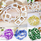 20pc 20mm Mop Mother Of Pearl Shell Square Hollow-out Loose Beads Jewelry Making