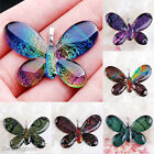 1x Dichroic Flame Teardrop Butterfly Lampwork Glass Pendant For Necklace Jewelry