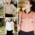 Neuf Fashion Femme chemise shirt Ladies Long-sleeved Tops Buckle Stand-up Collar