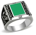 New Stainless Steel Men's Green-Blue Rectangle Dragon Ring - Sizes 8-13
