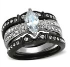 New Marquise CZ Solitaire Stainless Steel Black Wedding Ring Set Sizes 5-10