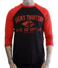 Lucky 13 raglan shirt 3/4 sleeve Moto Racer black red hot rod motorcycle