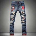 Homme Jeans Bleu Pantalons Cool Mens Jeans Torn Distressed Ripped Holey Patches