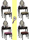 RK26 CHERRY FINISH MAKE UP VANITY TABLE DESK WITH SEAT CUSHION BENCH & MIRROR