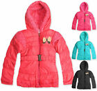Girls Bow Coat Kids Belted Hooded Jacket Faux Fur Lined New Age 1 2 3 4 5 Years