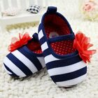Toddler Baby girl stripe flowers crib shoes casual shoes size 0-6-12-18 months