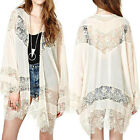 Women Vintage Boho Hippie Lace Crochet Floral Kimono Cardigan Jacket Tops Blouse