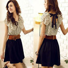 Summer Women's Short Sleeve Chiffon Dots Polka Waist Top Mini Dress Skirt 3 Size