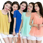 Korean Fashion Women Chiffon Short Sleeve Top Casual T-shirt Plus Size Blouse