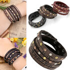 Fashion Mens Womens Multilayer Wrap Leather Friendship Bracelets Wristband Gift