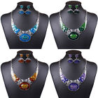 New Chunky Tibet Silver Enamel Oil Drop Retro Bib Choker Necklace Earrings Set
