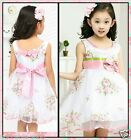 P573 Pinks Christening Princess Wedding Party Flower Girls Dresses SIZE 2 to 9 Y