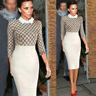 HOT SALE Womens Slim CHECKED 3/4 Sleeve Bodycon Cocktail Pary Dress Plus M L 2XL
