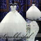 Bridal Ball Gowns Wedding Dresses SWAROVSKI CRYSTALS Beaded Top Handmade Flower