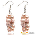 5-6mm x 7-8mm Freshwater Pearl Beads Sliver Plated Dangle Earrings Jewelry