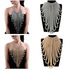 New Vintage Tribal Multilayer Metal Tassel Rhinestone Statement Pendant Necklace