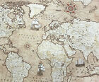 Vintage World Atlas 100% Cotton Fabric Maps Nautical Ships Travel 140cm Wide