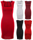 Dress for Ladies Sleeveless Square Neck Back Zip Pencil Bodycon Short 8-14