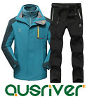 Premium New Men Outdoor Waterproof Sports Hooded 3in1 Jacket Pants Suit Coat