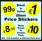 20mm Black & Yellow Price Point Stickers / Sticky Swing Tag Labels £1 £2 £3 £5