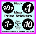 20mm Black Price Point Stickers / Sticky  Swing Tag Labels 99p £1 £2 £3 £5 £10